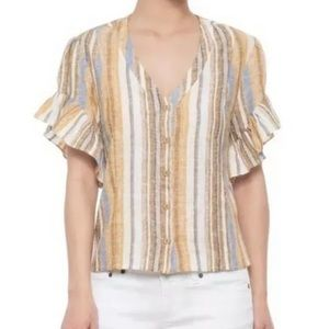 Anthropologie DREW Striped Button Flounce Blouse